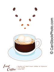 コーヒーカップ, クリーム, 氷, 凍らされる