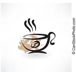 コーヒーカップ, グランジ, アイコン