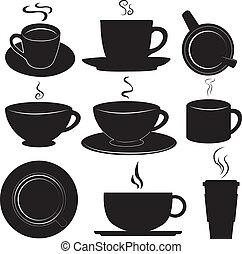 コーヒーカップ, セット, ベクトル