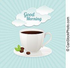 コーヒーカップ, テキスト, ベクトル, cloud., 白