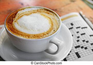 コーヒーカップ, ペーパー, 困惑, 朝, クロスワードパズル