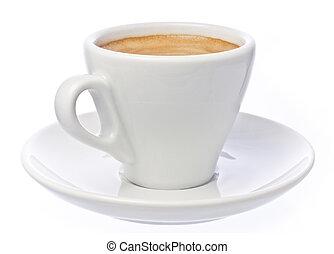 コーヒーカップ, 上に, エスプレッソ, 隔離された, 白