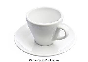 コーヒーカップ, 上に, エスプレッソ, 隔離された, 白, 空