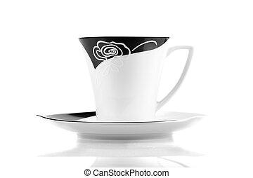 コーヒーカップ, 上に, 隔離された, 背景, 白