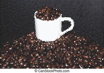 コーヒーカップ, 効果, ガラス, 豆, しみ
