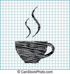 コーヒーカップ, 効果, ペン, ペーパー, アイコン