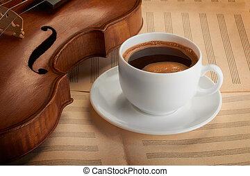 コーヒーカップ, 古い, バイオリン
