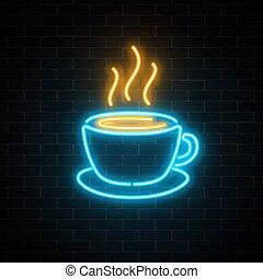 コーヒーカップ, 壁, ライト, 印。, ネオン, 効果, 白熱, 暗い, バックグラウンド。, 熱い 飲料, れんが, カフェ, ∥あるいは∥, アイコン