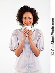 コーヒーカップ, 微笑の 女性, 飲むこと