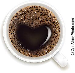 コーヒーカップ, 愛, 予測, イラスト, ベクトル