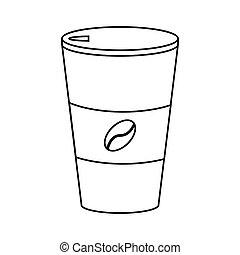 コーヒーカップ, 暑い, ペーパー, 薄いライン