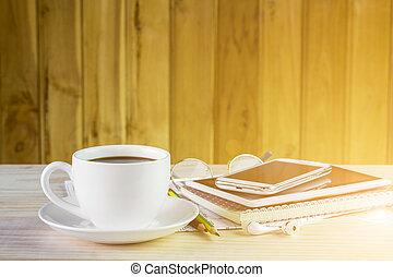 コーヒーカップ, 木製である, ノート, 背景, テーブル
