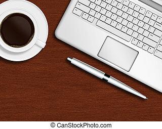 コーヒーカップ, 木製である, ラップトップ, ペン, 机, キーボード