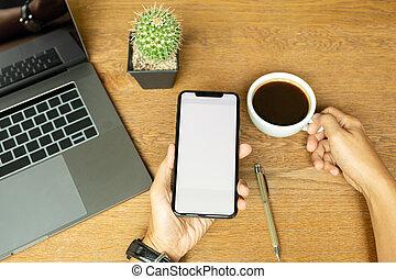 コーヒーカップ, 木製である, h, ラップトップ, 携帯電話, desk., 保有物, 使うこと