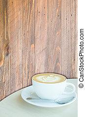 コーヒーカップ, 木製である, latte, 暑い, 背景