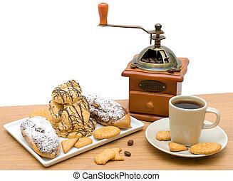 コーヒーカップ, 様々, 背景, 白, ペストリー