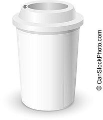 コーヒーカップ, 現実的, mock, の上, 隔離された