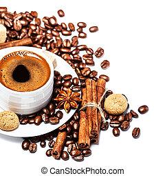 コーヒーカップ, 背中, 隔離された, 豆, biscotti, 白