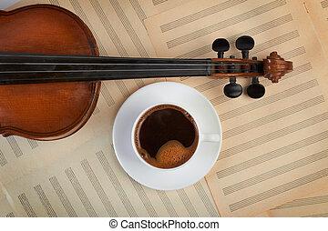 コーヒーカップ, 背景, バイオリン