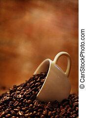 コーヒーカップ, 豆, 焼かれた