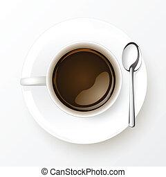 コーヒーカップ, 隔離された, スプーン, 背景, 白