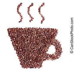 コーヒーカップ, 隔離された, 形, 豆, 白