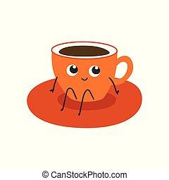 コーヒーカップ, -, 飲みなさい, 特徴, saucer., イラスト, ∥あるいは∥, 大袈裟な表情をしなさい, ベクトル, お茶, オレンジ, モデル, 漫画