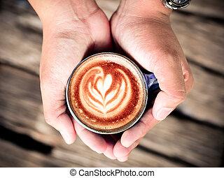 コーヒーカップ, concept., latte, 暑い, 保有物, 恋人, 芸術, 人