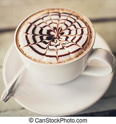 コーヒーカップ, mocca, latte, 暑い, latte-art