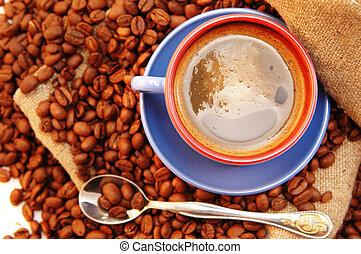 コーヒー豆, スプーン, カップ