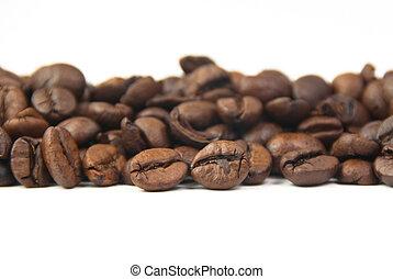 コーヒー豆, 白い背景, 焼かれた