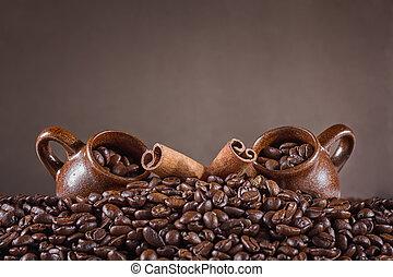 コーヒー豆, 背景, カップ