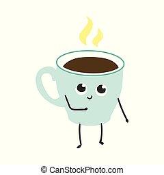 コーヒー, ∥あるいは∥, カップ, お茶, character., イラスト, 漫画, ベクトル, 蒸気