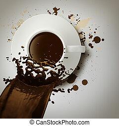 コーヒー, こぼれること, カップ, 型, スタイル, から, 3d