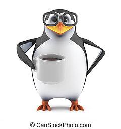 コーヒー, すてきである, カップ, ペンギン, acedemic, 3d, 飲み物