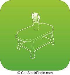 コーヒー, つぼ, ベクトル, 緑のテーブル, アイコン