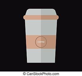 コーヒー, アイコン, カップ