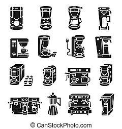 コーヒー, アイコン, セット, スタイル, 単純である, メーカー