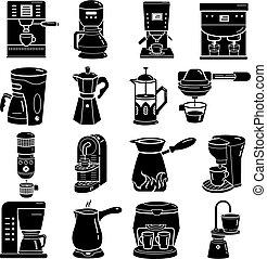 コーヒー, アイコン, メーカー, スタイル, セット, 単純である
