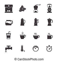 コーヒー, アイコン, set., メーカー