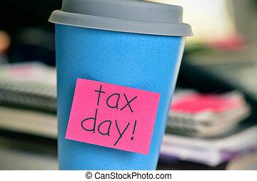 コーヒー, オフィス, カップ, テキスト, 税, 日
