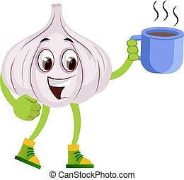 コーヒー, カップ, イラスト, バックグラウンド。, ベクトル, ニンニク, 白