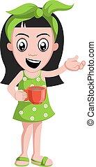 コーヒー, カップ, イラスト, バックグラウンド。, ベクトル, 女の子, 白