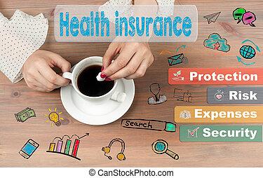 コーヒー, カップ, 木製である, 概念, 背景, 健康, テーブル, 保険