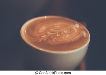 コーヒー, カップ, 色, 型, シダ, 保有物, パターン, 白, 手