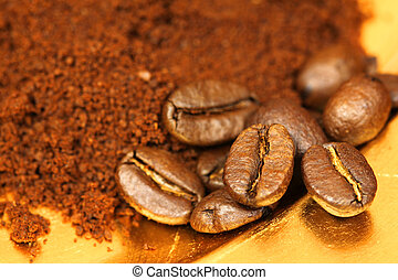 コーヒー, カフェ, 豆, 地面