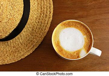 コーヒー, カプチーノ, わら, latte, 帽子, ∥あるいは∥