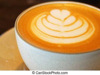 コーヒー, カプチーノ, カップ, の上, latte, 終わり, ∥あるいは∥