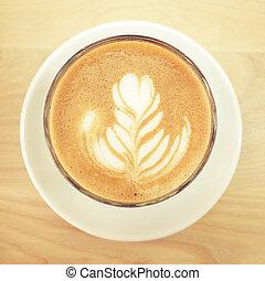 コーヒー, カプチーノ, 効果, latte, フィルター, レトロ, テーブル, ∥あるいは∥
