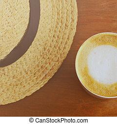 コーヒー, カプチーノ, 効果, latte, フィルター, 帽子, ∥あるいは∥, レトロ